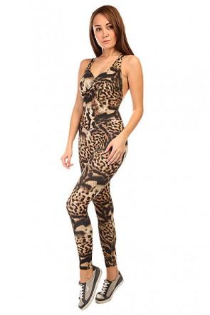 Комбинезон для фитнеса женский CajuBrasil Supplex Overall Black/Beige/Leo, 1135384,  CajuBrasil, цвет бежевый, черный