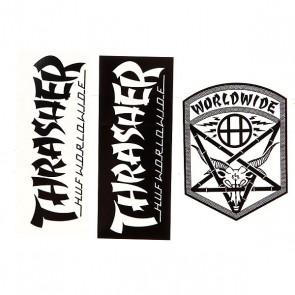 Наклейки Thrasher Huf X Thrasher Sticker Pack Assorted, 1120077,  Thrasher, цвет белый, черный