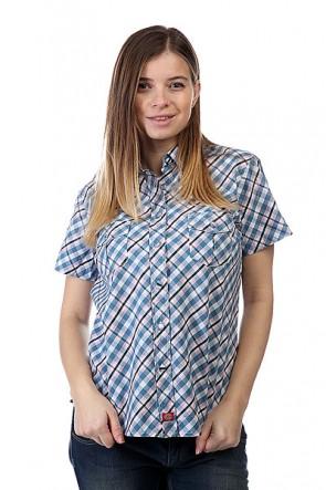Рубашка в клетку женская Dickies Enid Short Sleeve Shirt Indigo Blue, 1107826,  Dickies, цвет белый, голубой, розовый