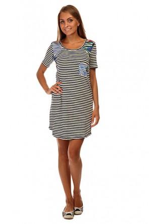 Платье женское Roxy Nautical J Ktdr Teeny Stripe Eclipse, 1140005,  Roxy, цвет белый, синий