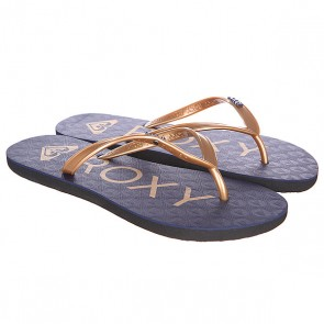 Шлепанцы женские Roxy Bahama V J Denim, 1120228,  Roxy, цвет коричневый, синий