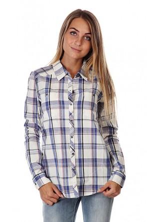 Рубашка в клетку женская Roxy Sneaky Peaks Dotty Plaid Sea, 1125852,  Roxy, цвет белый, синий